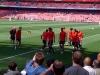Man Utd plyers warming up before Arsenal vs Man Utd Season 2010-11