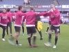 View from The Paddock away section - Man Utd players warming up - 2008-09
