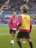 View from The Paddock away section - Manchester United players warming up season 2008-09