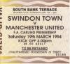 Swindon vs Man Utd ticket stub - 1993-94 Season - away section standing ticket