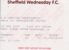 Sheff Wed vs Man Utd - away end ticket stub - 1999-2000 Season