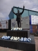Johnny King statue outside Prenton Park