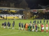 Players shake hands before Southend v Crewe game March 16