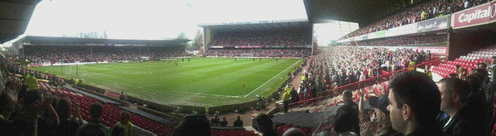 Panoramic shot of the City Ground the home of Nottingham Forest