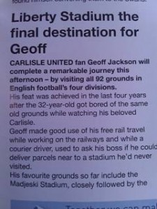 Extract from the Swansea Norwich programme