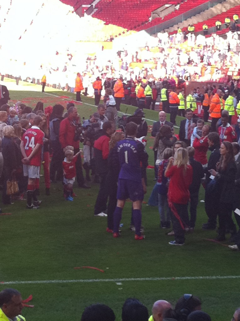 Edwin van der Sar after his final appearance at Old Trafford.
