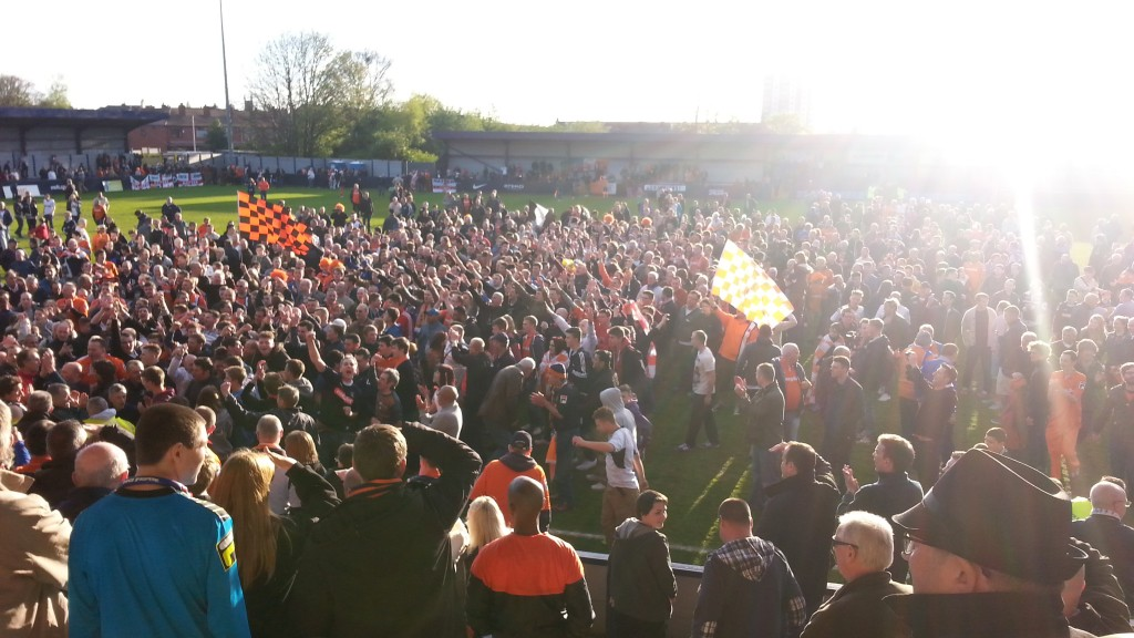 Luton Town celebrate promotion back to the football league at Hyde