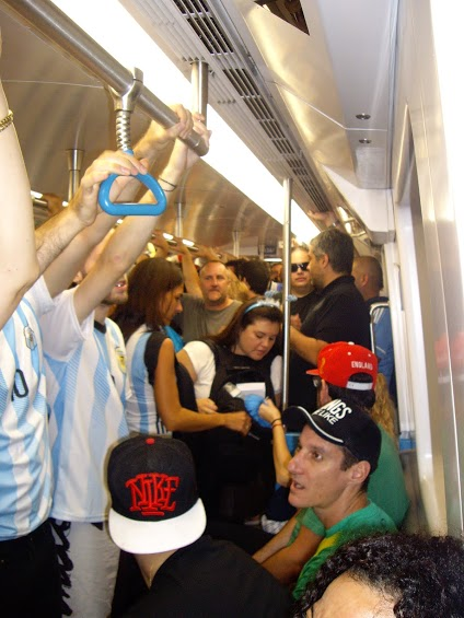 The one train was a Sardine Tin for Argentina fans. And us.