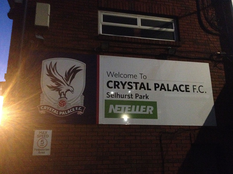 Welcome to Crystal Palace FC Selhurst Park sign