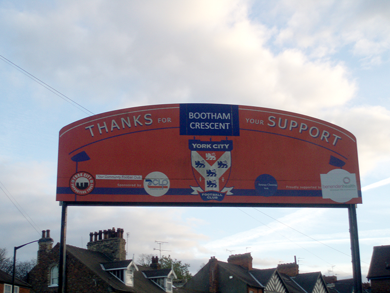 Thanks for your support sign at York City's Bootham Crescent, formerly Kitkat crescent