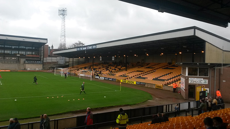 The away end at Vale Park for the visit of MK Dons in the FA Cup