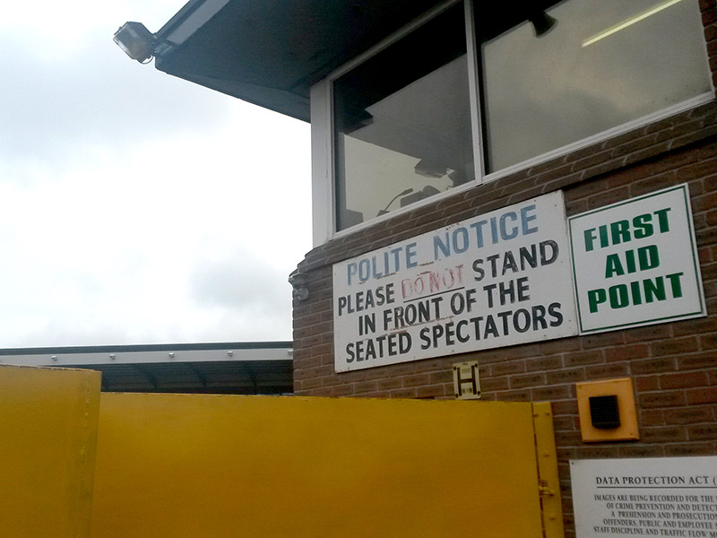 Retro sign at Vale Park - no standing