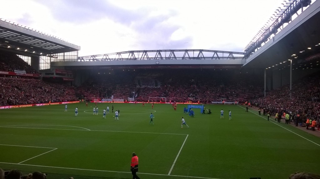 Anfield, the home of Liverpool before the Premier League Match against Hull