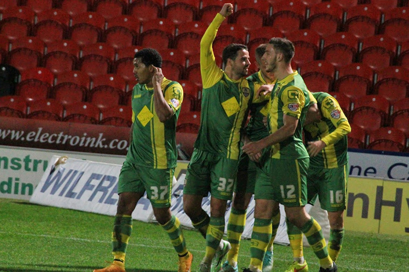 Notts County celebrate the winner in the johnstone's paint trophy tie at donaster