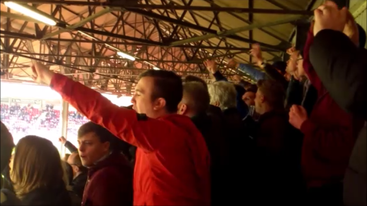 Yeovil fans at Leyton Orient Bisbane Road