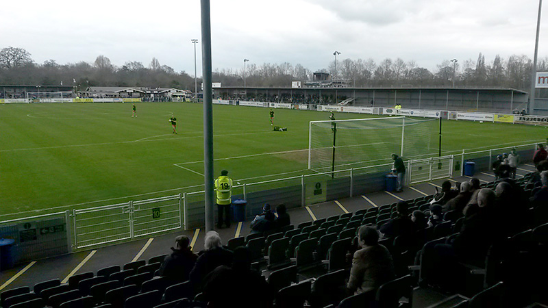 View from the South Stand at the Silverlake Stadium before kick off in the conference game between Eastleigh and Dover Athletic