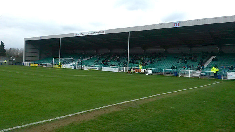 The recently opened South Stand at the Silverlake Stadium Eastleigh