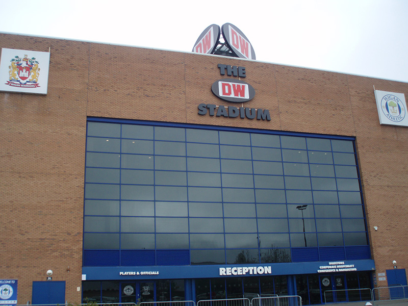 Main entrance of the DW Stadium the home of WIgan Athletic