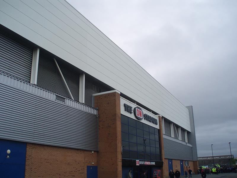 Front of the DW Stadium Wigan