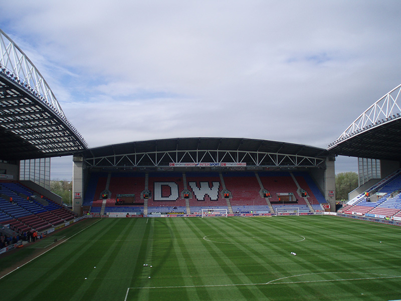 View from the stands at Wigan Athetic's ground