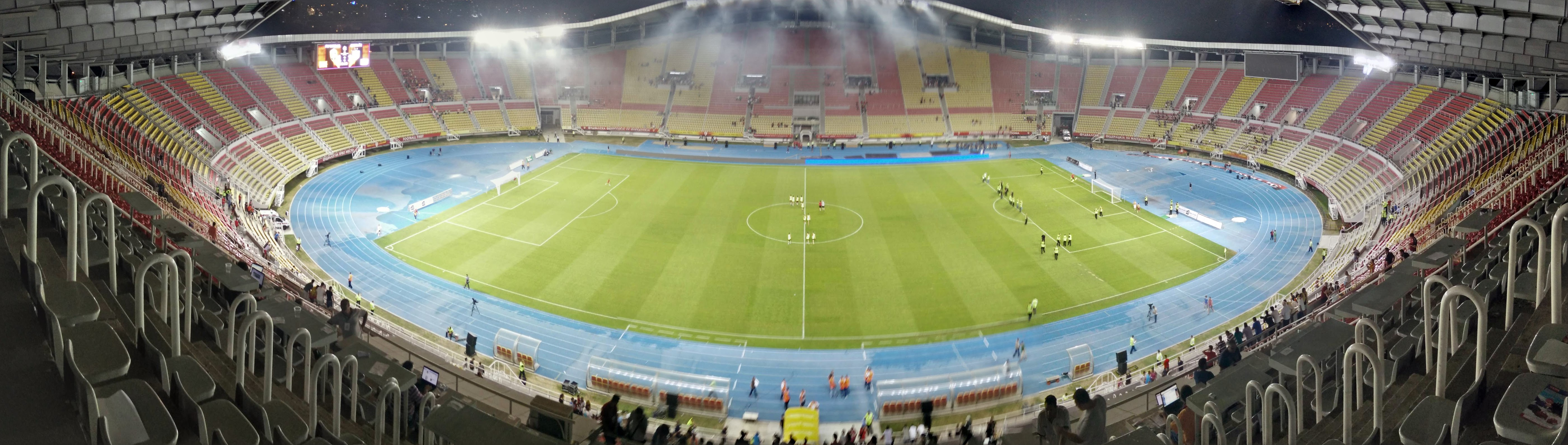 A high panoramic shot of the stadium post game.