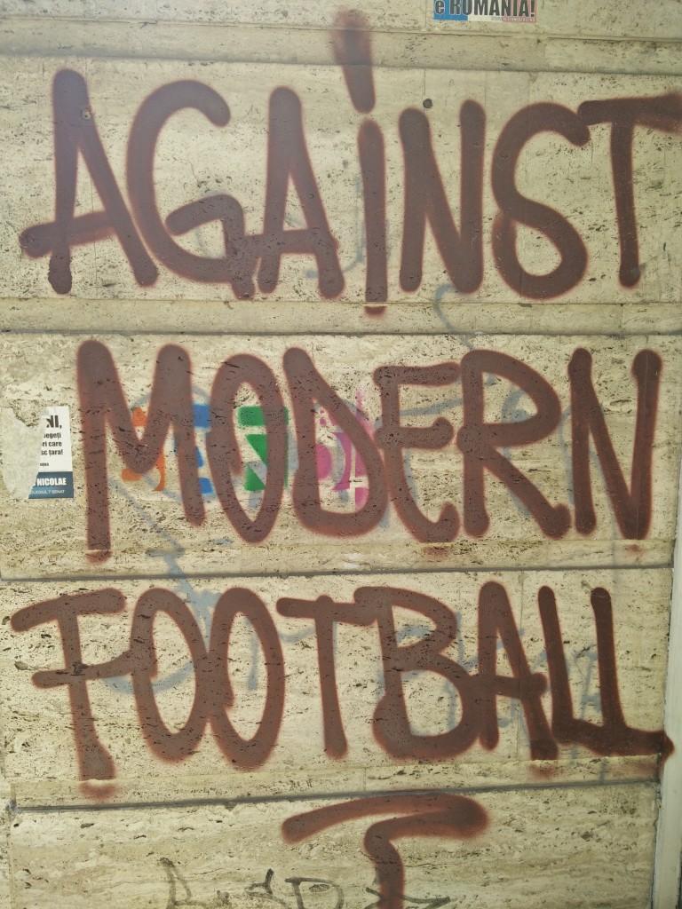 against modern football graffiti slogan.