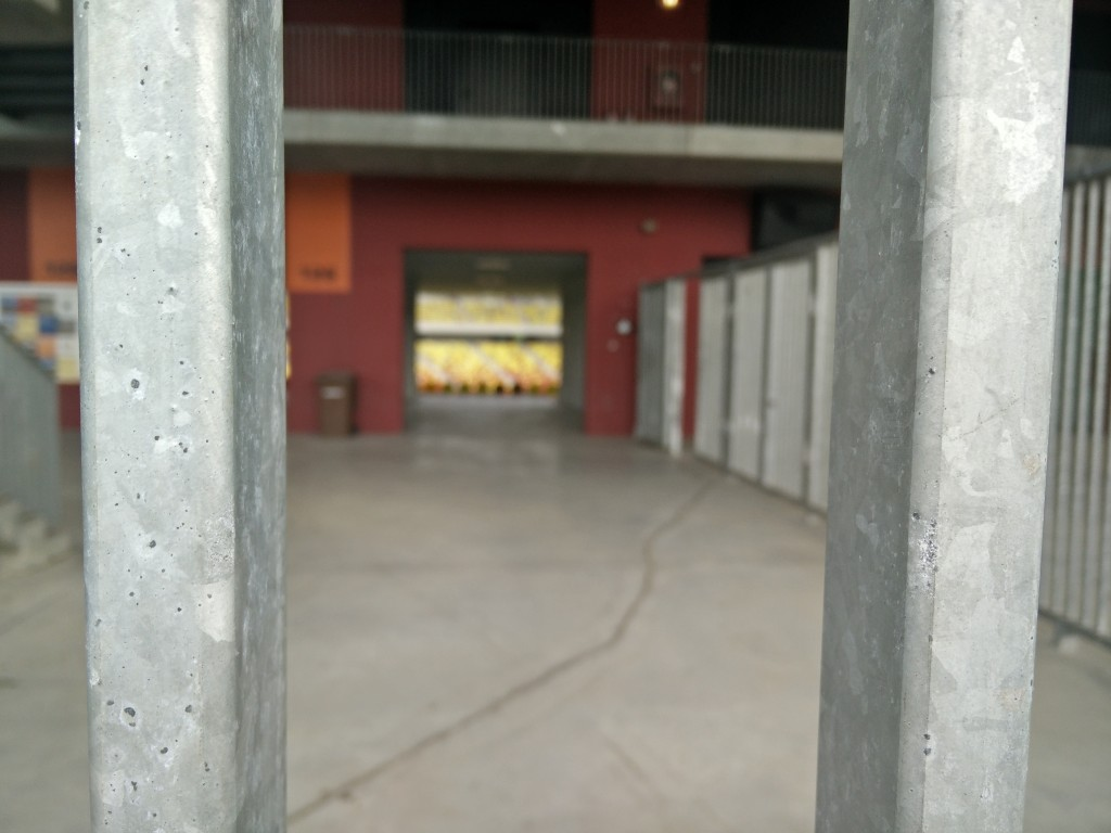 The outside of the stadium.
