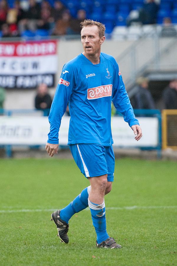Former Blackpool and Southampton striker Brett Ormerod playing for Padiham