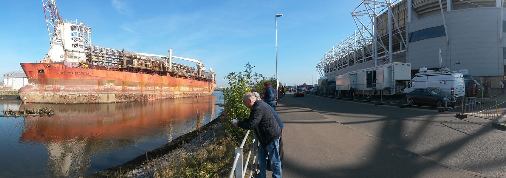 north sea producer ship on the river tees alongside the riverside stadium