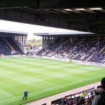 looking towards the Kop at meadow lane home of the magpies notts county