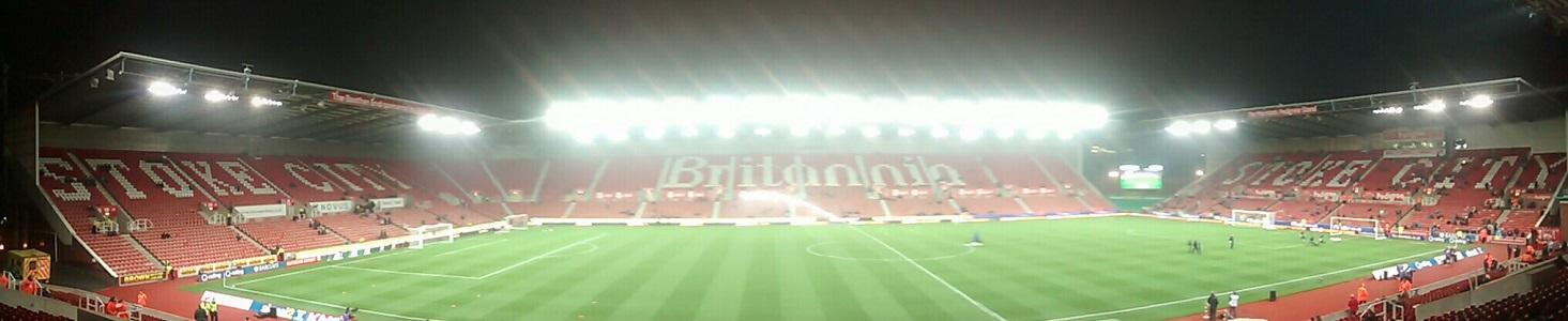 Panoramic of stoke city's britannia stadium