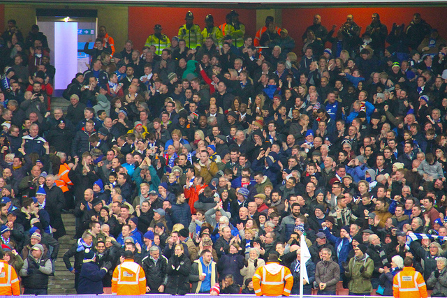 Leicester fans celebrating a goal