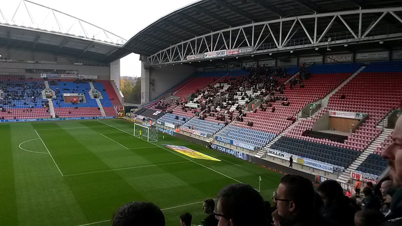 swindon fans in the away end at the dw stadium wigan