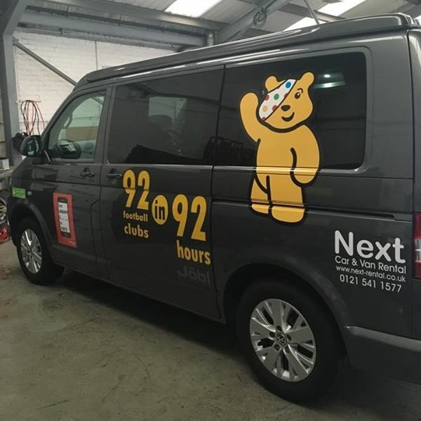 92 in 92 hours for children in need, van sponsored by next car and van rental