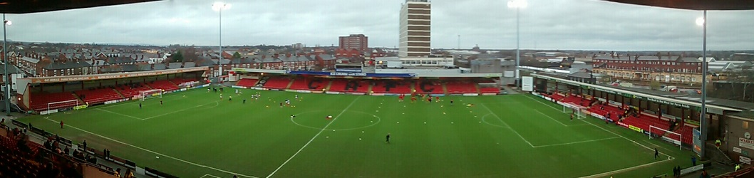 panoramic of crewe alexandra's gresty road (alexandra stadium)