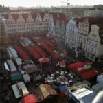View of the Christmas Market from the big wheel in Rostock.