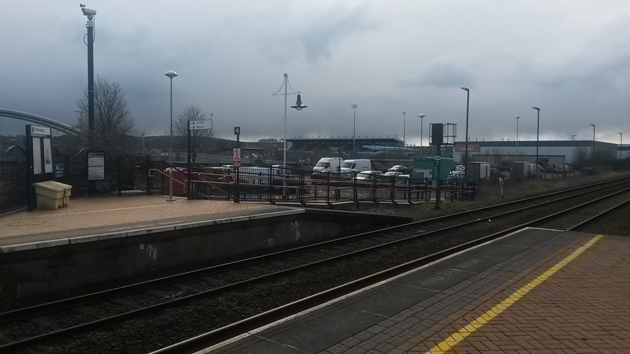 The One Call Stadium from Mansfield Train Station