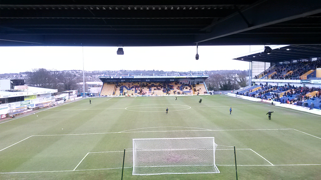 View from the away end at the one call stadium mansfield