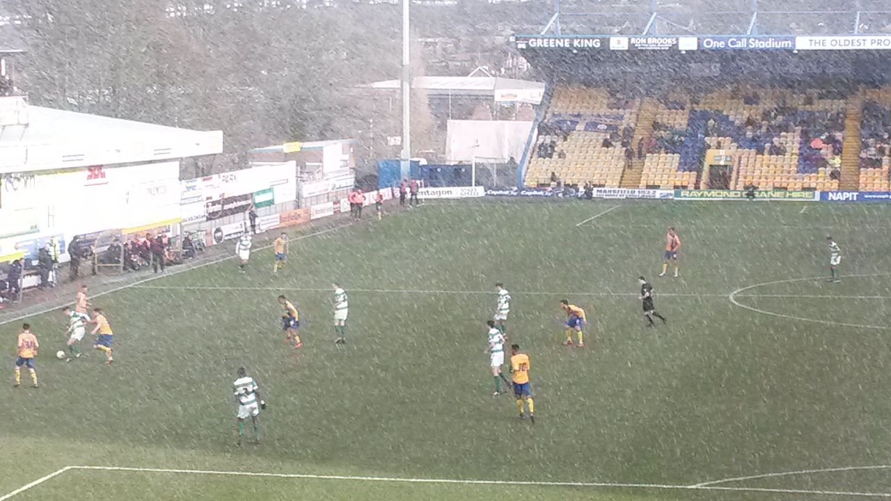 hail storm mansfield v yeovil league 2 at the one call stadium