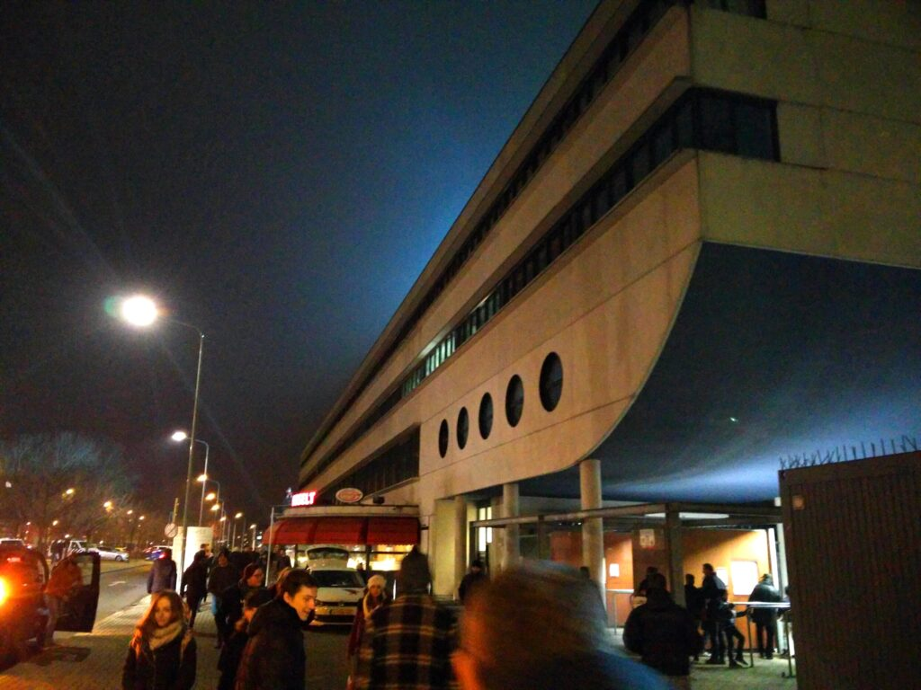 The main stand from the outside at De Geusselt.