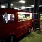 The cute little food trucks at the stadium.