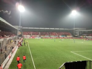 A view of De Geusselt with the floodlights dominating.