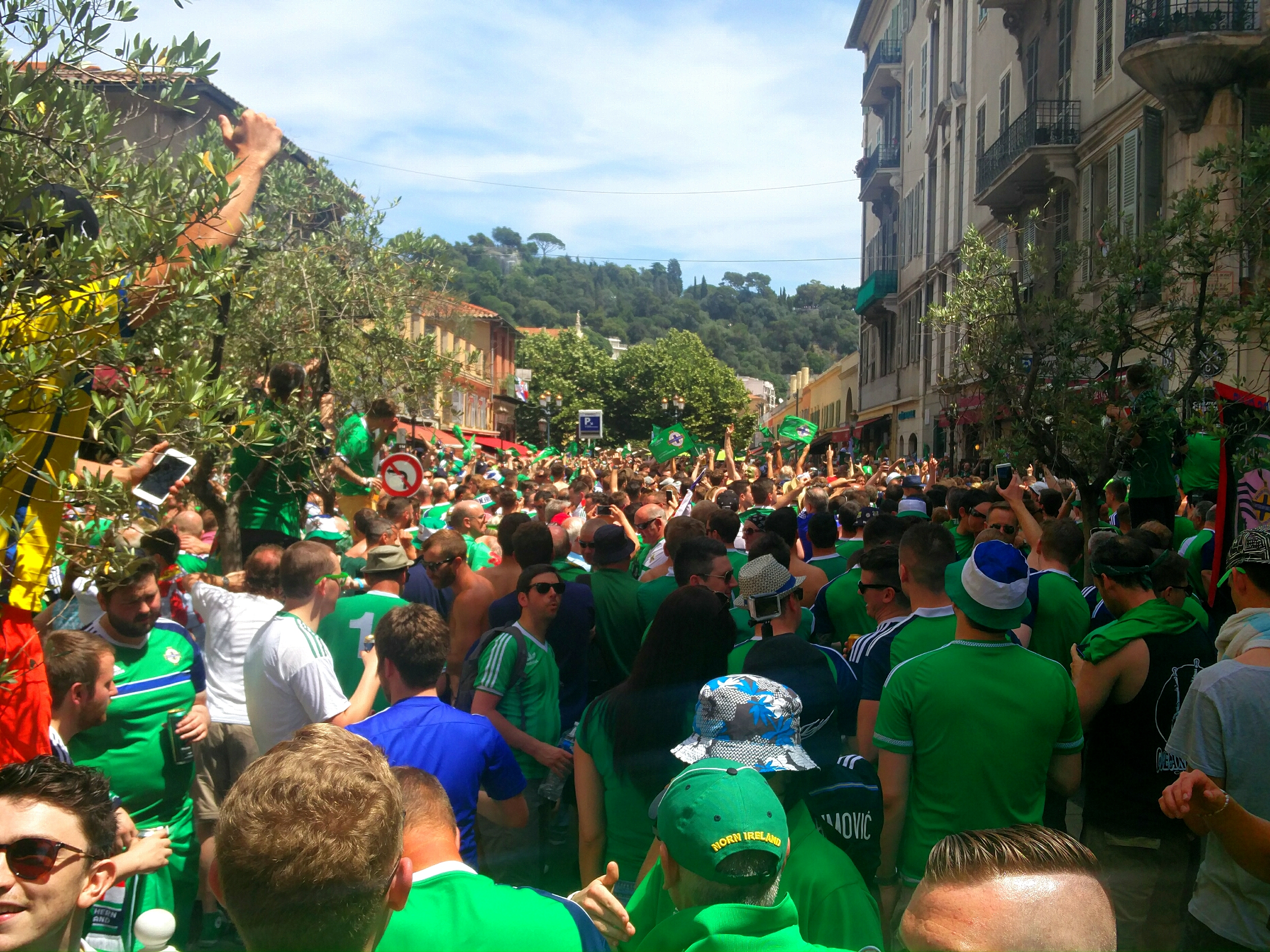 Norther Irish fans going crazy in the street.