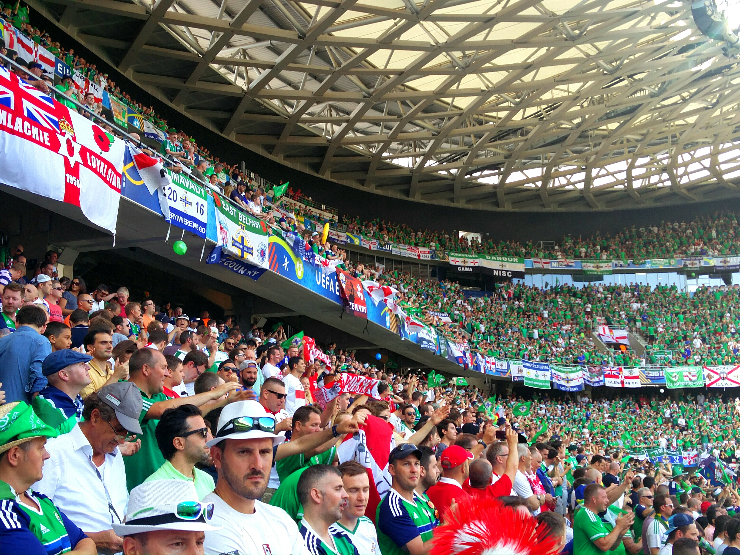 The sea of Norther Irish green taking a third of the stadium.