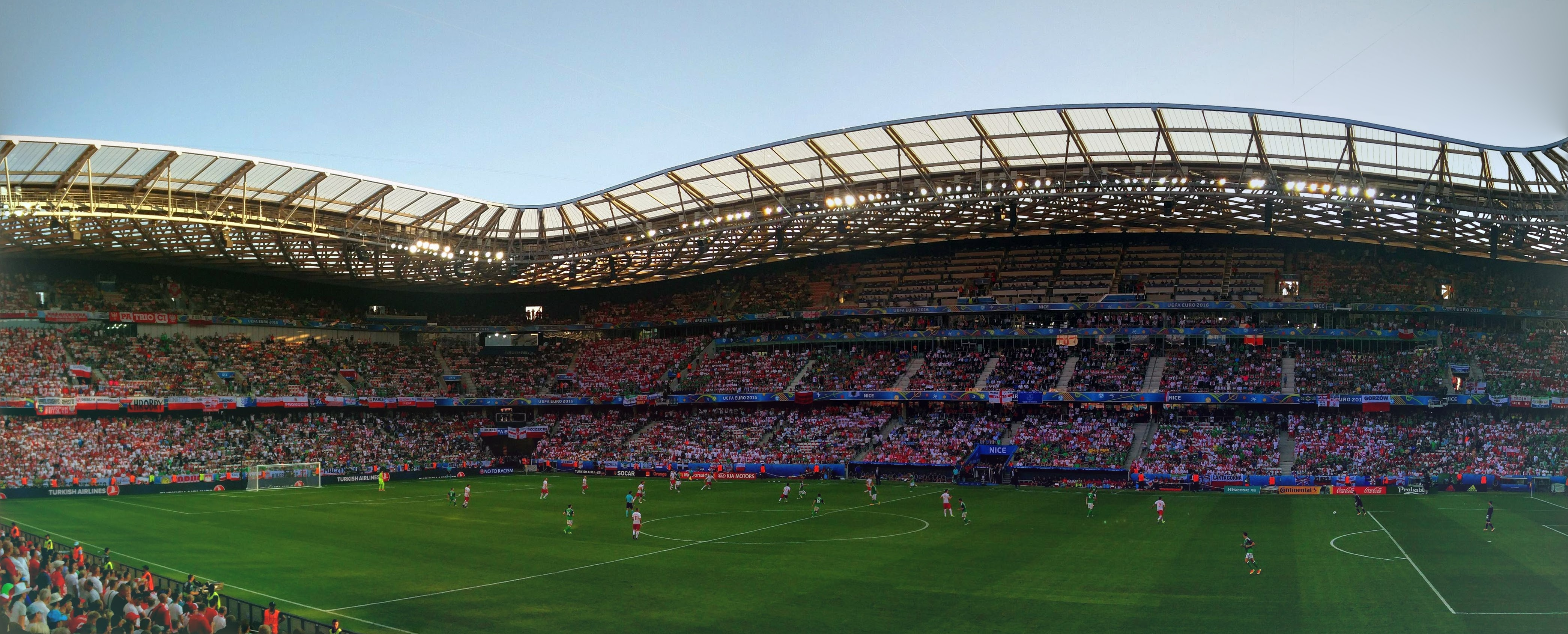 A shot of the main stand, which has a smaller feel to the giant Munich stadium (sponsors are the same!).