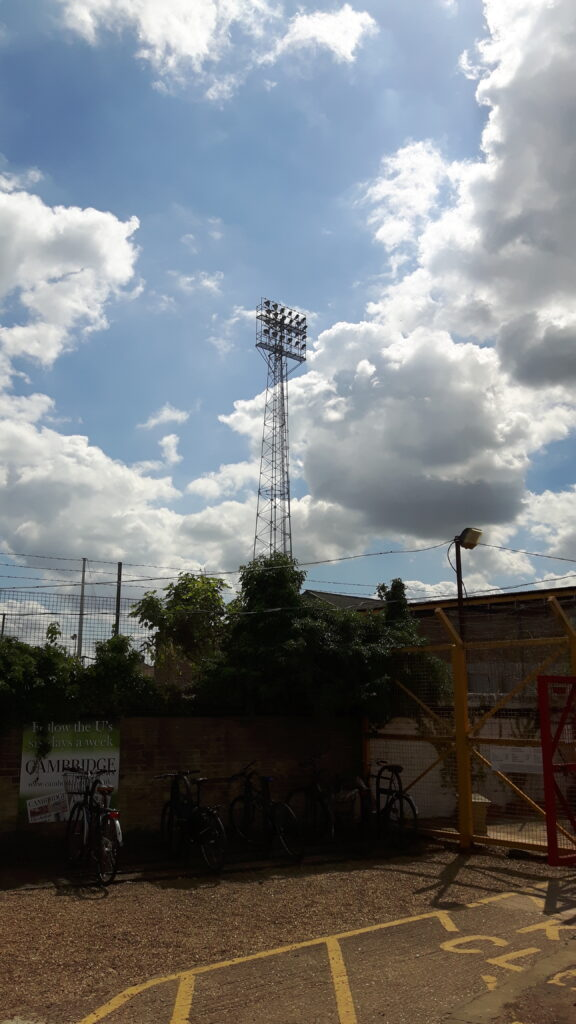 floodlight at the abbey stadium home of league side cambridge united