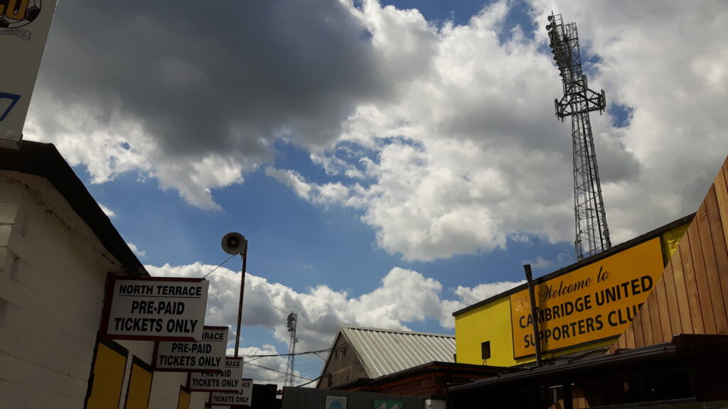 floodlights at the abbey stadium home of cambridge united