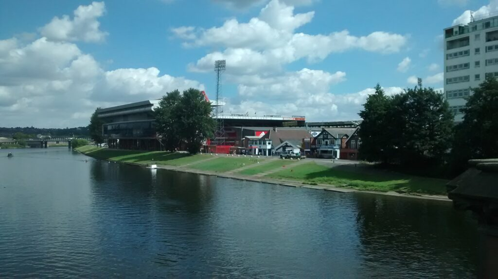 city ground view from the river trent