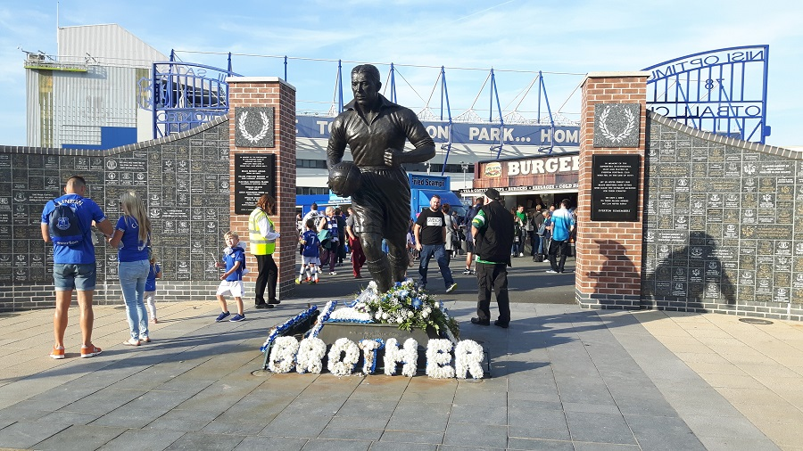 Dixie Dean statue near the Park End on Walton Lane at goodison park, Everton's ground