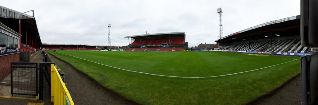 Panormic shot of Blundell Park the home of League 2 side Grimsby Town